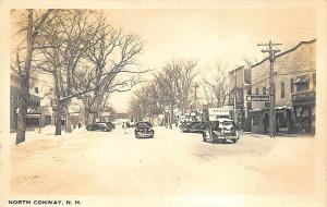 North Conway NH Snowy Street Scene Store Fronts Old Cars RP Postcard
