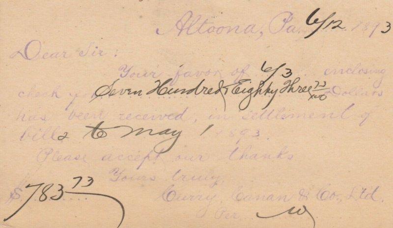 ALTOONA, Pennsylvnia, PU-1893 ; Curry, Canan & Co. Ltd ; #2