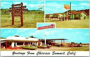 CHIRIACO SUMMIT, California Postcard Motel Chevron Service Gas Station Roadside