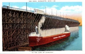 Michigan Marquette Freighter At Ore Dock