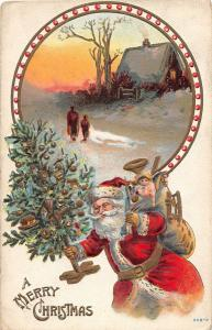 D92/ Santa Claus Merry Christmas Holiday Postcard 305-P c1910 Tree Toys 17