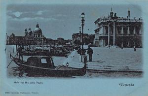 Venice Italy birds eye view gondolas Molo dal Rio della Paglia antique pc Z25200