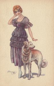 CHERUBINI ; Art Deco Female Portrait with Dog , 1910s #1