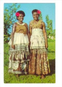 Two women in traditional dress, Fiji, 40-60s