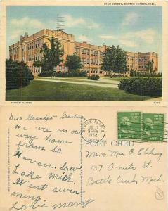 High School in Brenton Harbor, Michigan, MI, 1952 Linen