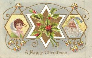 A Happy Christmas - Mistletoe Blue Santa Claus Embossed 04.61