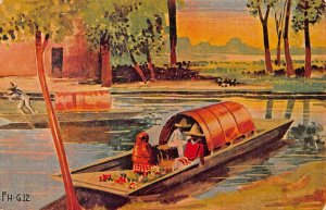 MONTERREY MEXICO POSTMARK~TRAJINERA ON LAKE~1930s ARTIST DRAWN POSTCARD