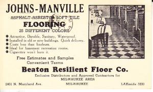 Johns-Manville Flooring Ad on 1942 Postal Card