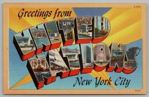 New York City~United Nations Large Letter Linen Postcard~UN c1950 Postcard