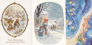 Czech Republic Santa Claus Sleigh Christmas 3x Soviet Postcard s