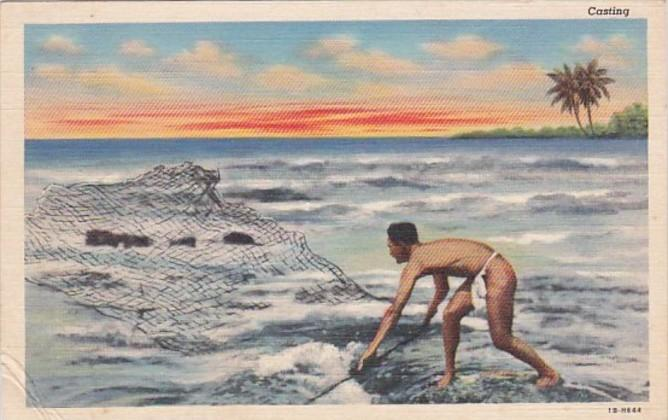 Hawaii Native Fisherman Casting His Net Curteich
