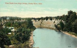 Rocky River Ohio~View South From High Bridge~House Tops~Weathervane~1910