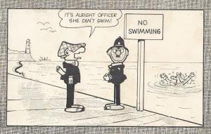 Andy Capp With Policeman 1960s Swimming Pool Comic Postcard