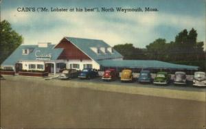 North Weymouth MA Cain's Restaurant Old Cars Lobster Linen Roadside Postcard