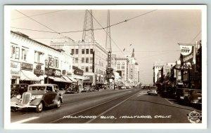 Hollywood Boulevard CA~Warner Theatre~Magic Bullet~Edward G Robinson~1940 RPPC