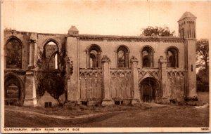 Glastonbury Abbey Ruins North Side UK Vintage Postcard