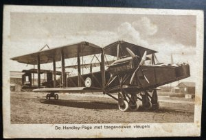 Mint Netherlands Real Picture Postcard Handley Page Biplane With Folded Wings