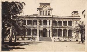 E7/ Honolulu Hawaii Real Photo RPPC Postcard 1922 Palace Building Front