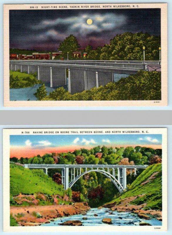 2 Postcards NORTH WILKESBORO, NC ~ Yadkin River Bridge at Night, Ravine Bridge