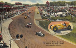 Linen Postcard 1940s Indianapolis Motor Speedway Annual 500 Mile Classic 50Y