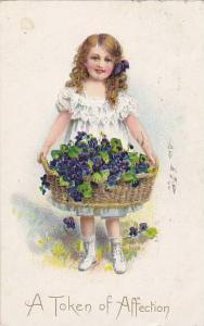 TUCK #10, Valentine Greetings, Girl Holding A Basket Full Of Purple Flowers, ...