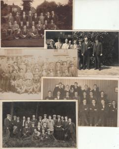 Group of men early real photo postcards x 5
