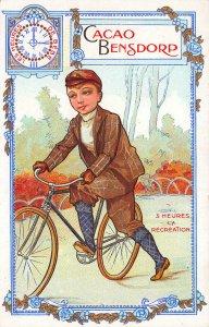France Cacao Bensdorp Chocolate Boy 5 Heure's La Recreation Advertising Postcard