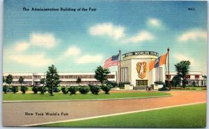 1939 New York World's Fair Postcard Administration Building Linen Unused