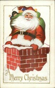 Christmas - Santa Claus Going down Chimney #47 c1910 Postcard