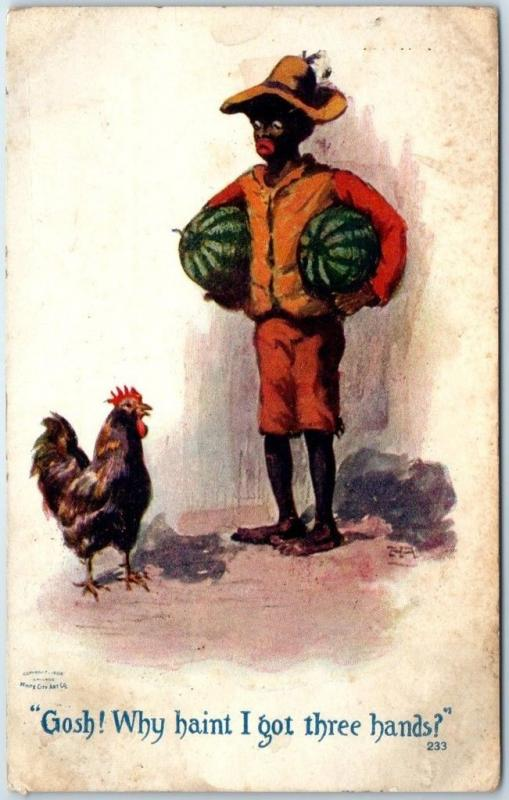 Black Americana Artist-Signed Postcard Black Boy Watermelon Rooster 1910 Cancel