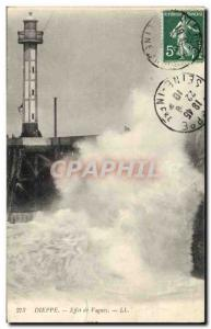 Postcard Old Lighthouse Dieppe Effect waves