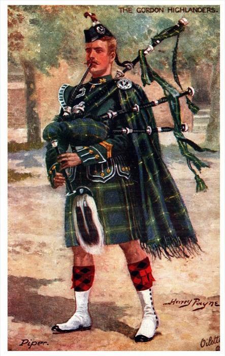 4987 Tuck´s  9884    The Gordon Highlanders  PIPER  signed Harry Payne