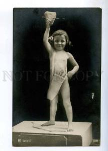 234117 NUDE Girl CUPID Archer w/ HEART Vintage PHOTO postcard