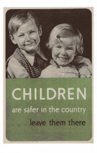 Children Are Safer In The Country WW2 Bombing Military Poster Postcard