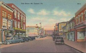 Mt. Carmel PA Oak Street JC Penney store old cars Linen Vintage postcard