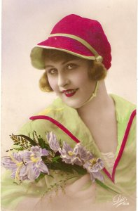 Pretty smiling lady with pink cap. Flower Nice vintage French postcard
