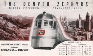 The Denver Zephyrs ~ Diesel Stainless Steel Train Denver to Chicago AD Postcard