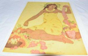 Lei Maker, Hawaii, Illustrated by John Kelly, Royal Hawaiian Menu 1948
