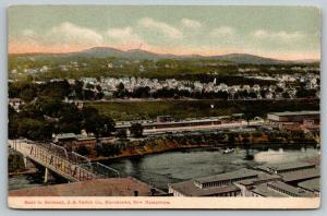 Manchester New Hampshire~Birdseye Over Bridge~Depot~Homes Across River~c1910