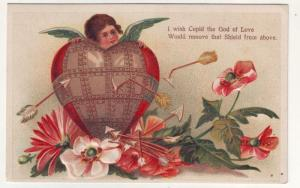 P105 JLs old postcard embossed cupid remove the shield