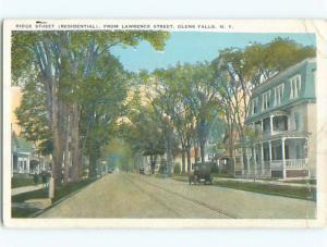 Bent Corner W-Border OLD CARS & VIEW OF STREET Glens Falls New York NY n1462