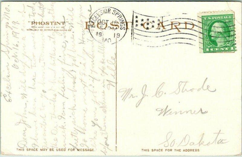 1919 Excelsior Springs, Missouri Postcard REGENT SPRING AND PARK Detroit Pub.