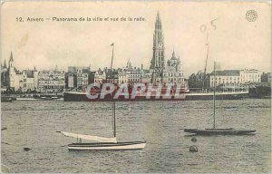 Old Postcard Antwerp Panorama of the City and to the harbor boat