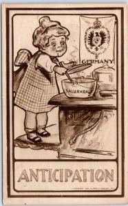 1910s Political / Comic Postcard ANTICIPATION Cooking Sauerkraut / German Flag
