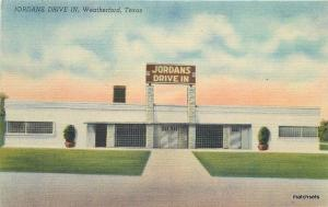1940s Jordan's Drive In Weatherford Texas Colorpicture linen postcard 1299
