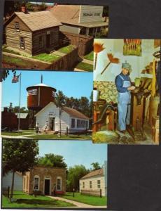 NE Lot 4 Pioneer Village Amusement Park Minden Nebraska Postcards  Broom Making
