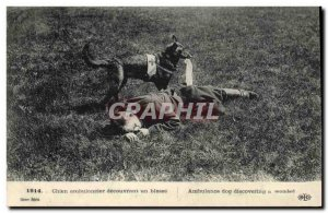 Old Postcard Dogs Dog ambulance discovering a wounded Red Cross Militaria
