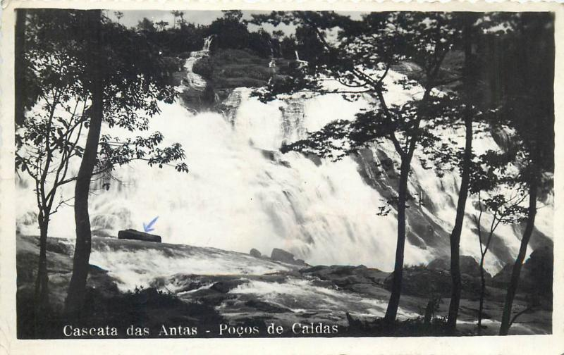 Brazil waterfall 1950s photo postcard Cascata das Antas - Pocos de Caldas