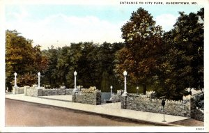 Maryland Hagerstown Entrance To City Park Curteich