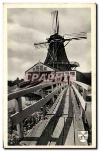 Old Postcard Netherlands Leiden Houtzaagmolen From Herder Mill Windmill